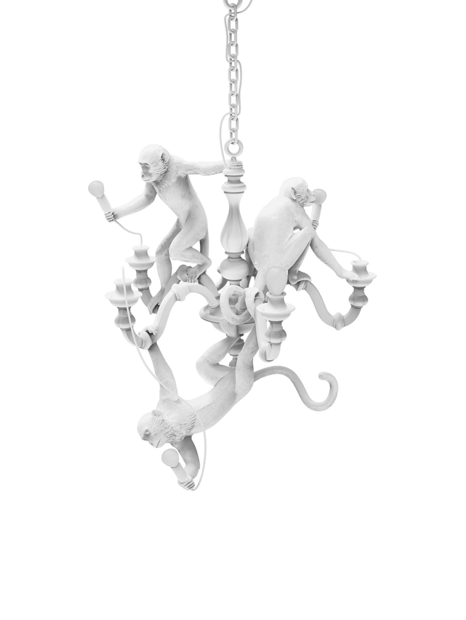 Lampada a sospensione Monkey Chandelier, Poliresina, metallo, Bianco, Ø 80 x Alt. 105 cm