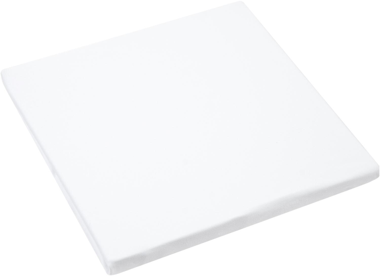 Prześcieradło z gumką z jerseyu Lara, 95% bawełna, 5% elastan, Biały, S 90-100 x D 200 cm