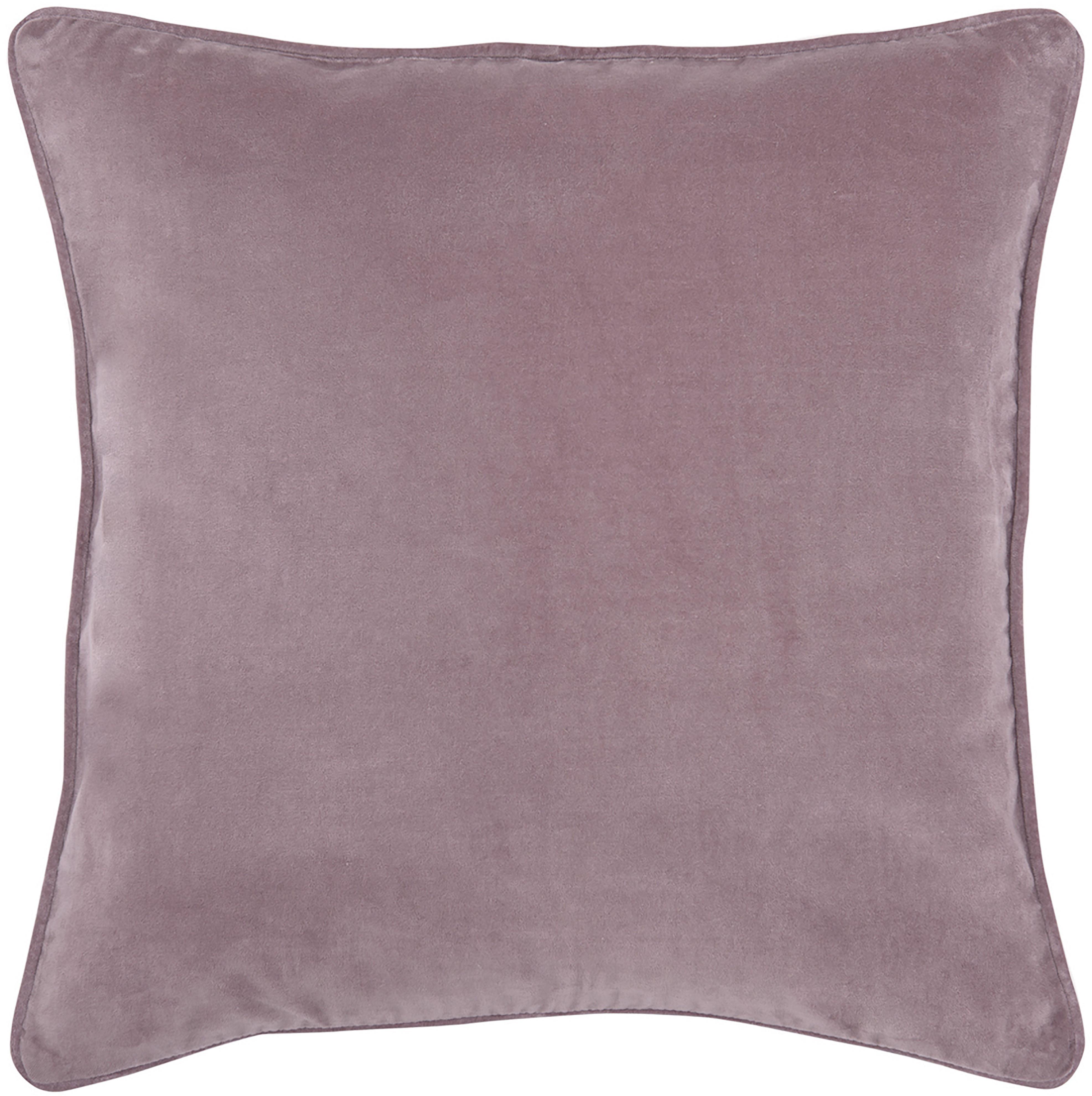 Federa arredo in velluto rosa cipria Dana, 100% velluto di cotone, Rosa cipria, Larg. 40 x Lung. 40 cm
