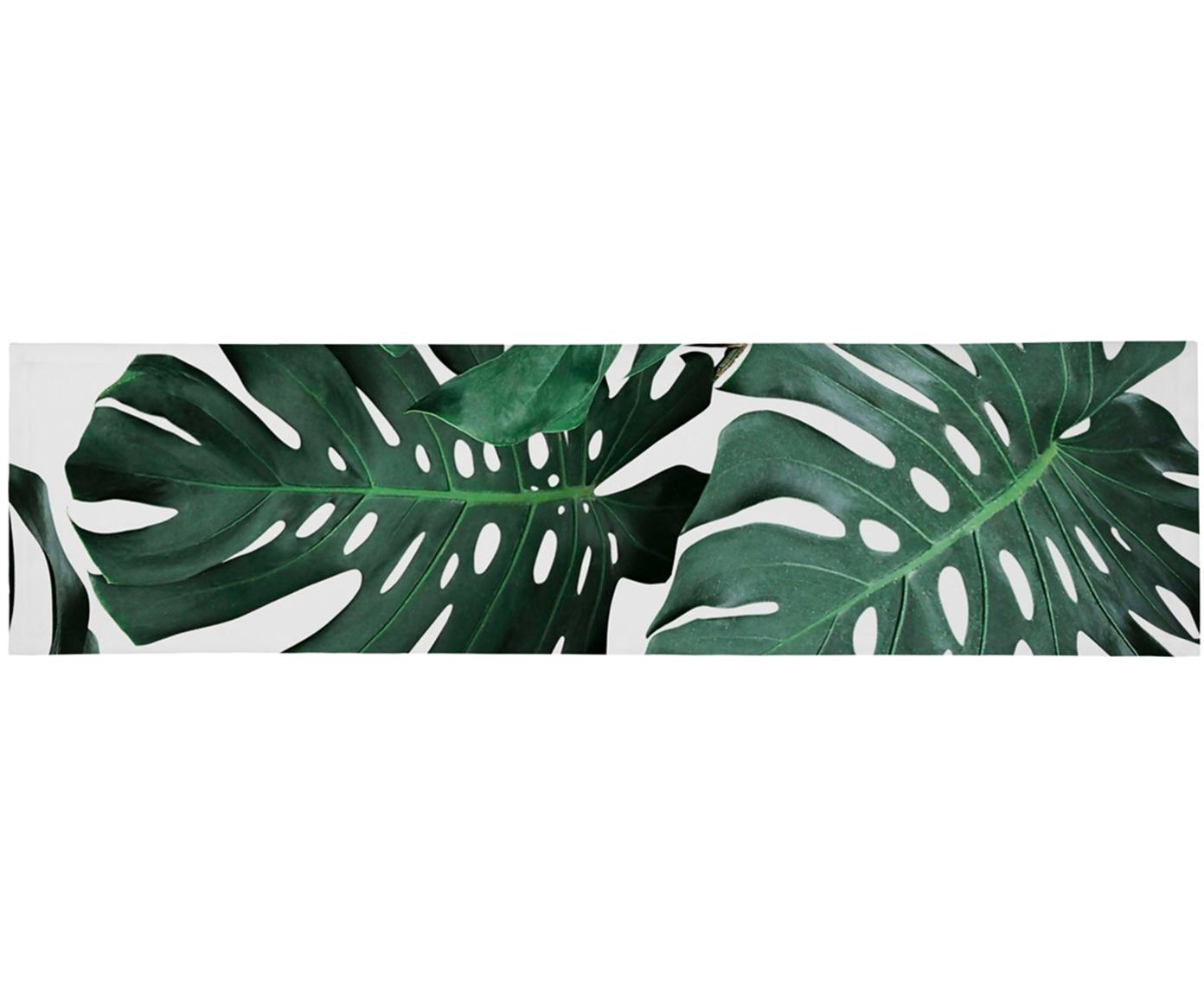 Camino de mesa Monstera, Poliéster, Verde, blanco, An 40 x L 150 cm