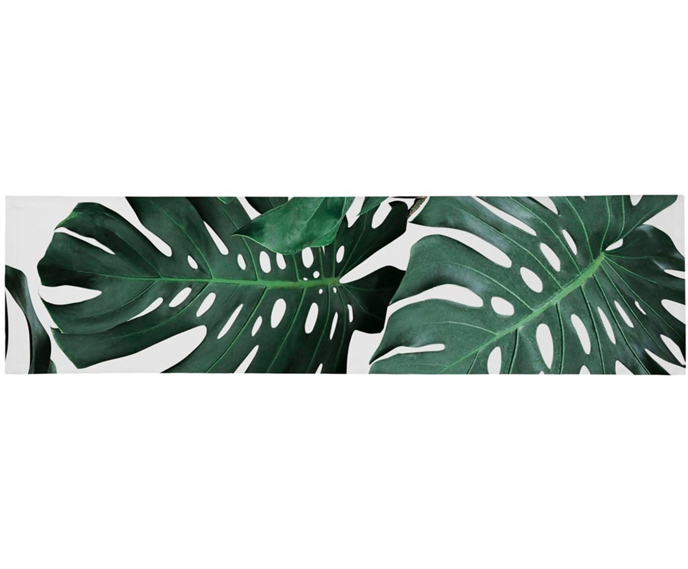 Tischläufer Monstera, Polyester, Grün, Weiß, 40 x 150 cm