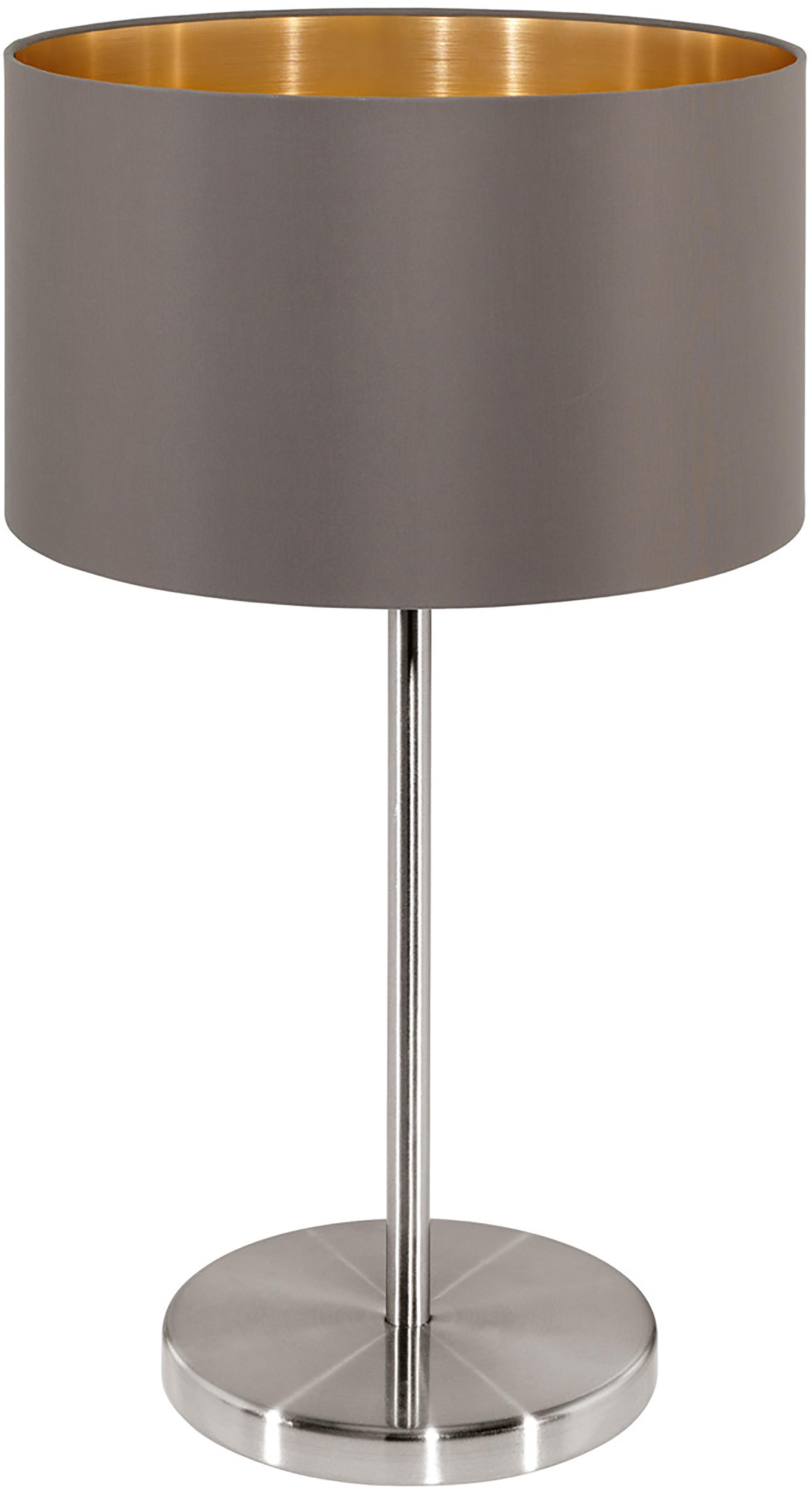 Tafellamp Jamie, Lampvoet: vernikkeld metaal, Fitting: vernikkeld metaal, Grijsbeige, zilverkleurig, Ø 23 x H 42 cm
