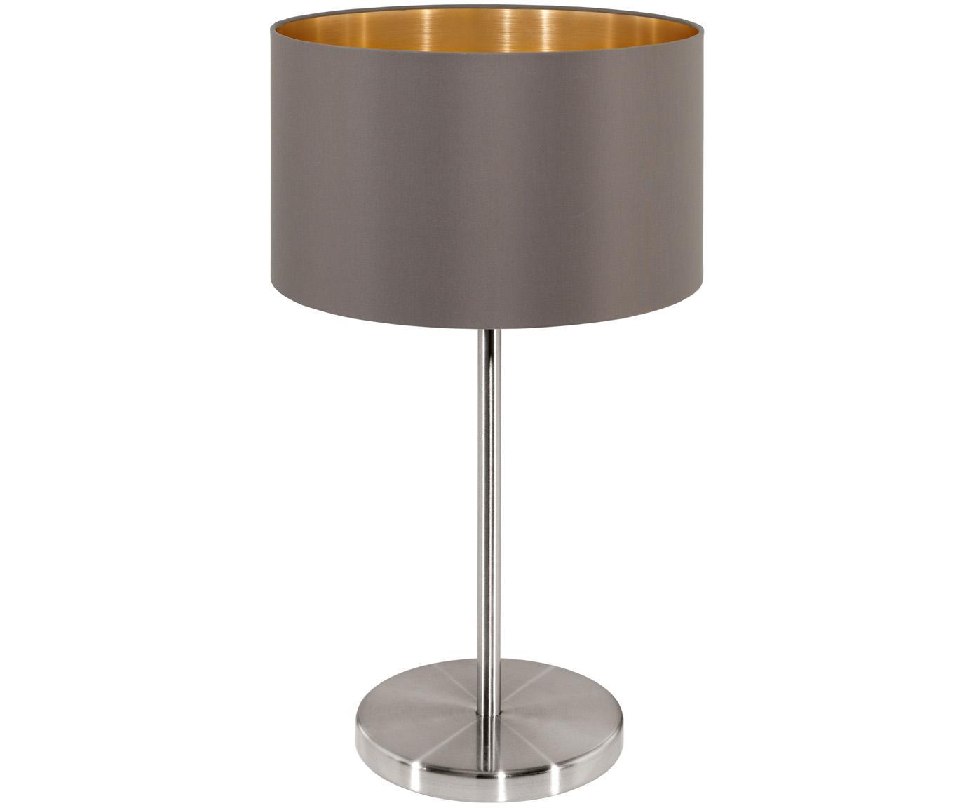 Tischleuchte Jamie, Lampenfuß: Metall, vernickelt, Grau-Beige,Silberfarben, ∅ 23 x H 42 cm