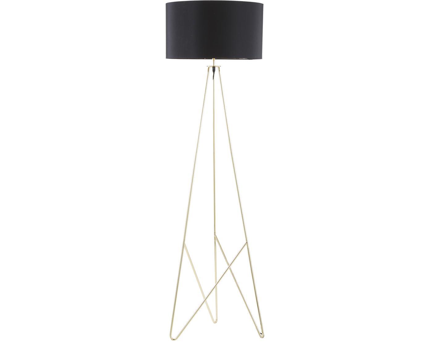 Vloerlamp Jessica, Lampenkap: textiel, Lampvoet: verkoperd metaal, Zwart, koperkleurig, Ø 45 x H 155 cm