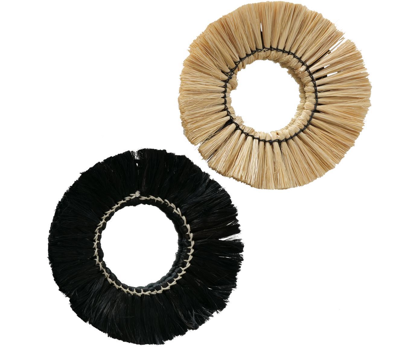 Ronde, handgeknoopte wandspiegelset Mamesa, 2-delig, Metaal, spiegelglas, Zwart, beige, Ø 25 cm