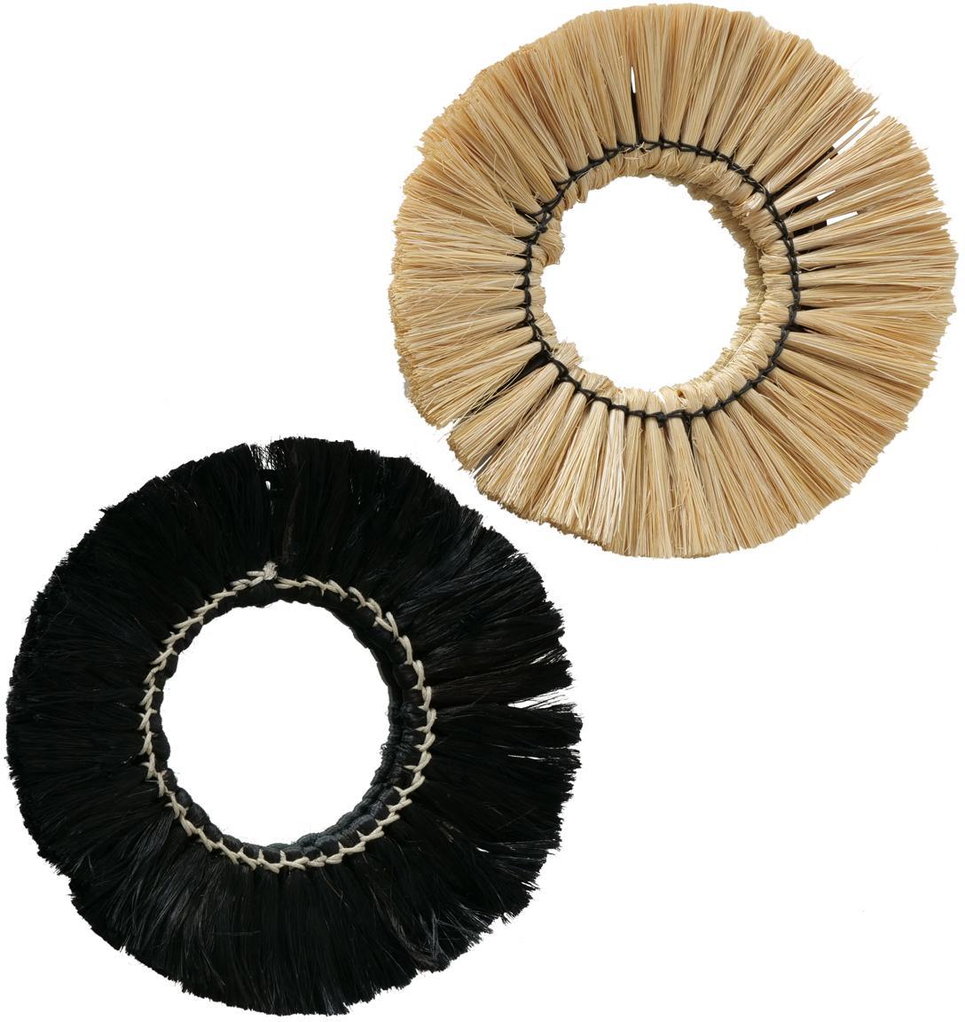 Rundes, handgeknüpftes Wandspiegel-Set Mamesa, 2-tlg., Rahmen: Metall, Stroh, Spiegelfläche: Spiegelglas, Schwarz, Beige, Ø 25 cm