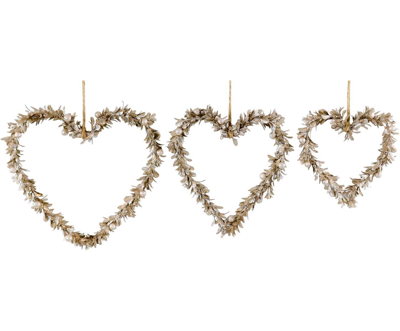 Decoratieve hangersset Lovely, 3-delig, Polystyreen, kunststof, metaal, hout, Goudkleurig, Verschillende formaten