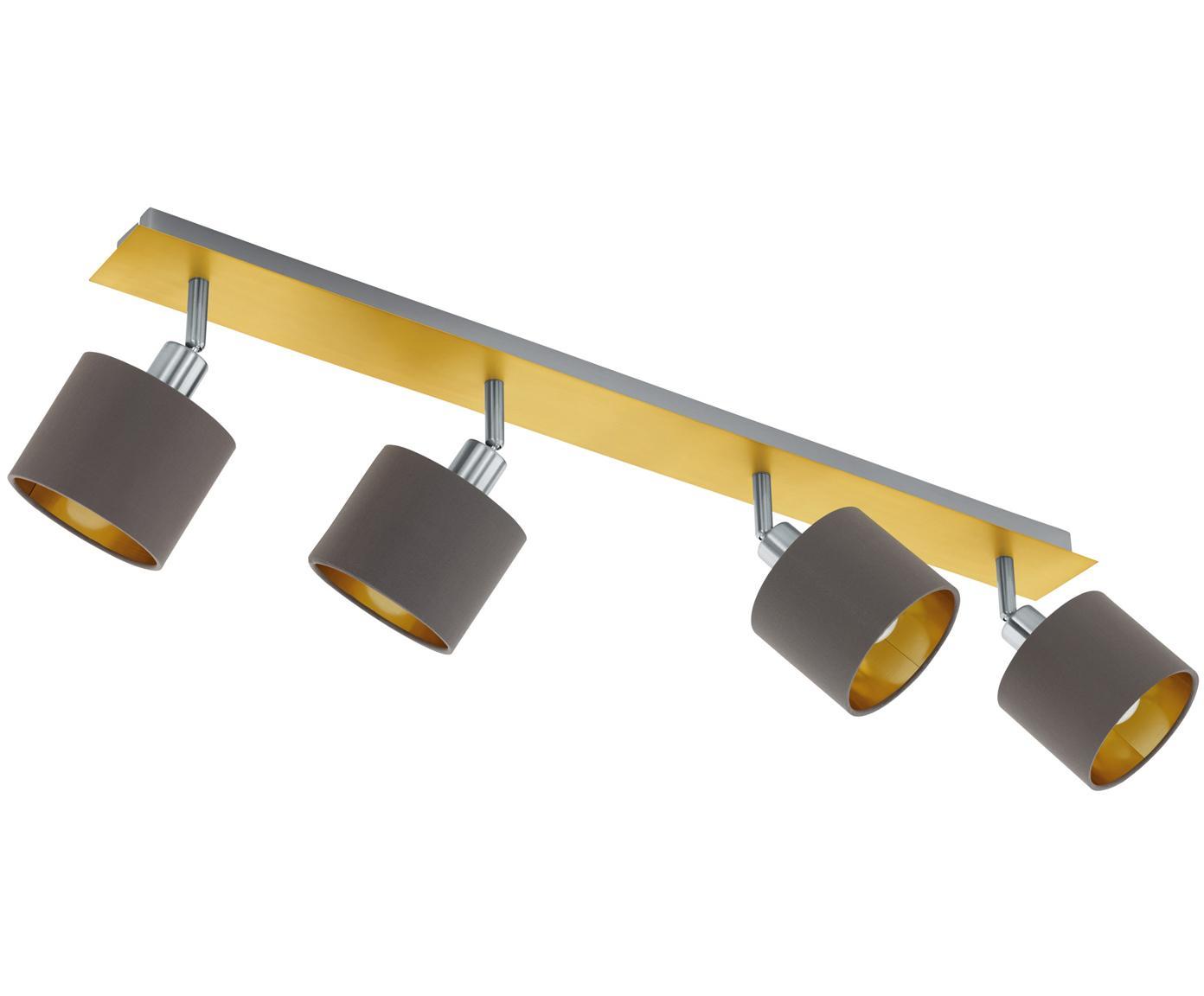 Faretti da soffitto Valbiano, Paralume: poliestere, Baldacchino: acciaio nichelato, ottone, Marrone, dorato, Larg. 78 x Alt. 20 cm
