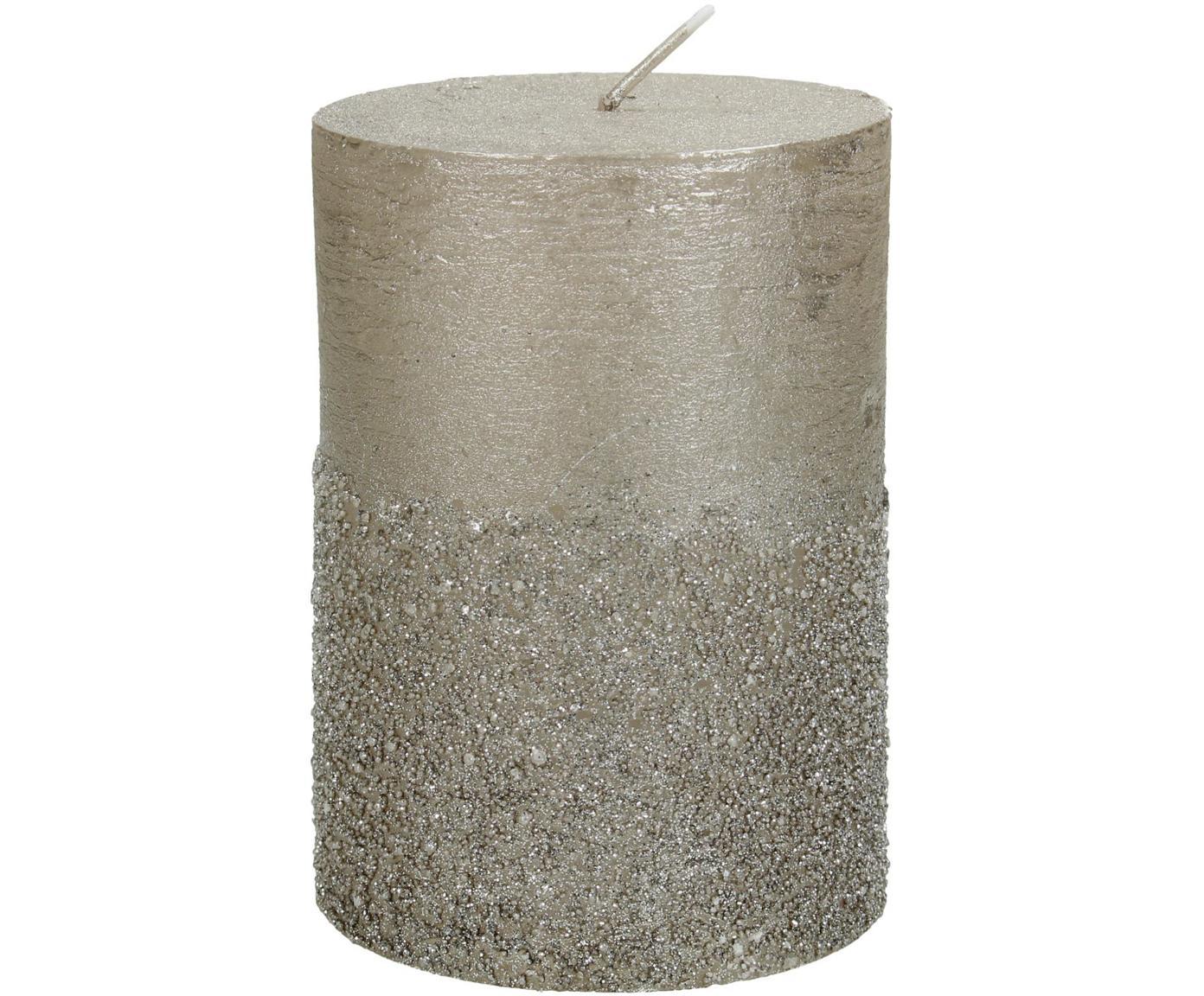 Vela pilar Glitters, Cera, Dorado, Ø 7 x Al 10 cm