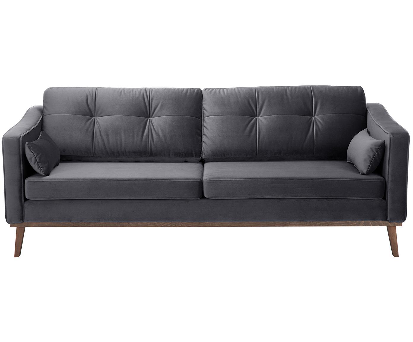 Sofa z aksamitu Alva (3-osobowa), Tapicerka: aksamit (wysokiej jakości, Stelaż: drewno sosnowe, Nogi: lite drewno bukowe, barwi, Aksamitny ciemny szary, S 215 x G 92 cm