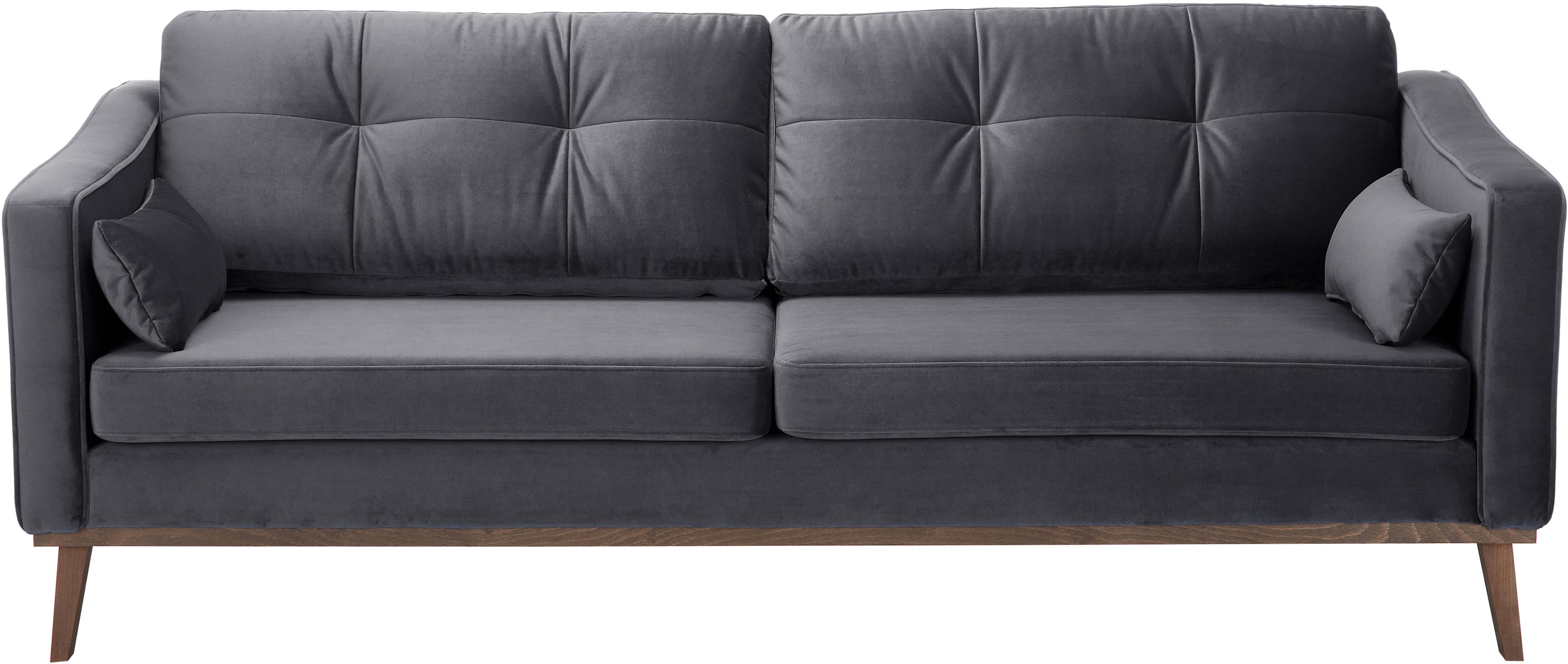 Fluwelen bank Alva (3-zits), Bekleding: fluweel (hoogwaardig poly, Frame: massief grenenhout, Poten: massief gebeitst beukenho, Donkergrijs, B 215 x D 92 cm