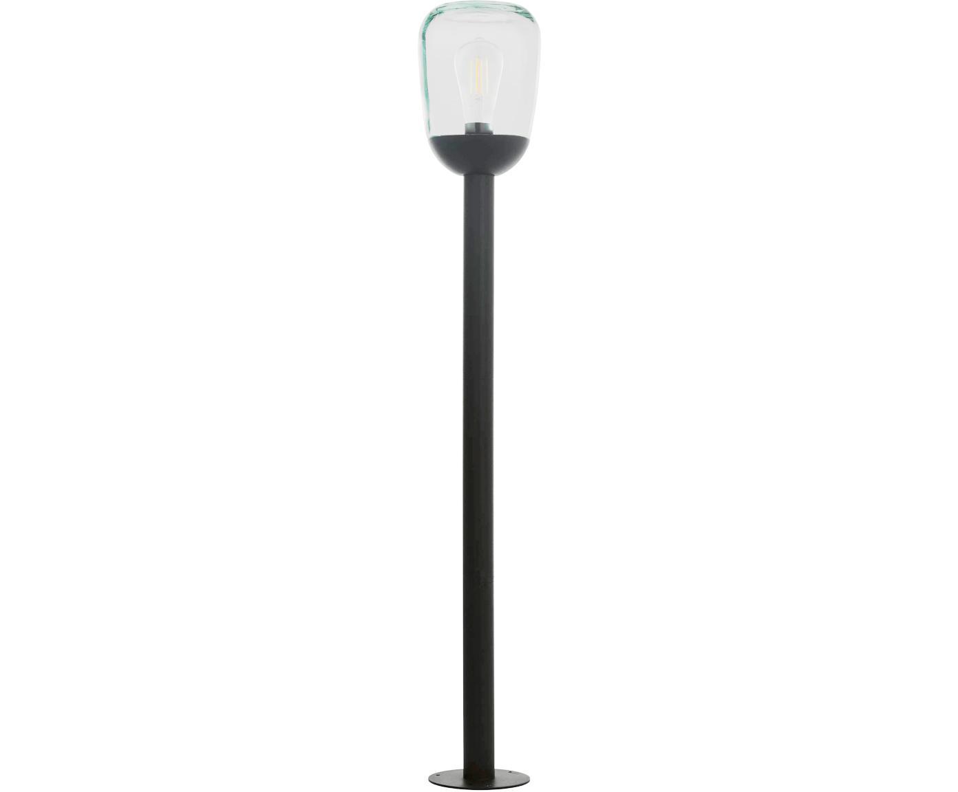 Lámpara de pie para exterior Donatori, Aluminio, vidrio, Negro, Ø 16 x Al 99 cm