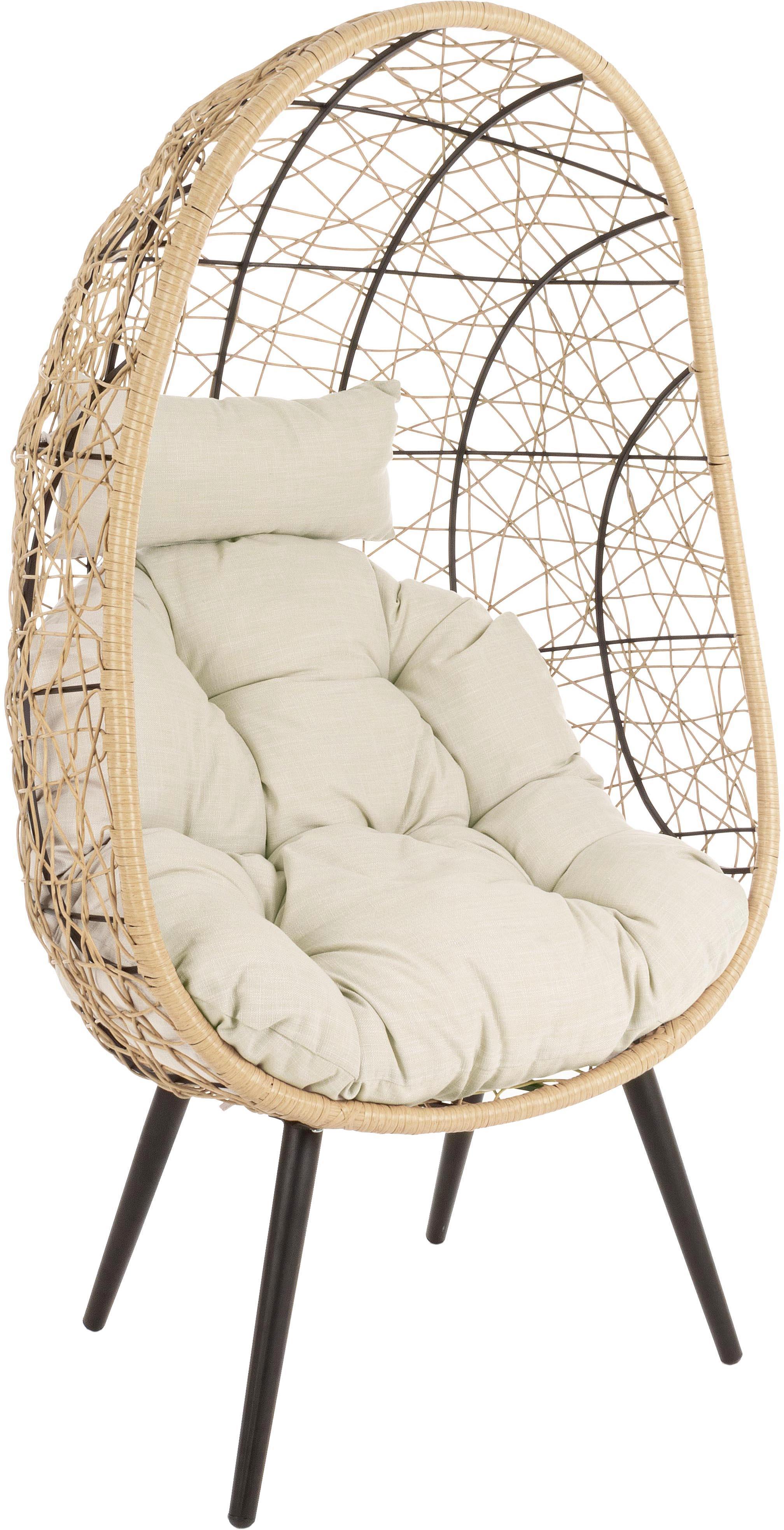 Outdoor fauteuil Marley, Frame: gepoedercoat aluminium, Zitvlak: synthetische vezels, Bekleding: polyester, Beige, crèmekleurig, zwart, B 87 x D 70 cm