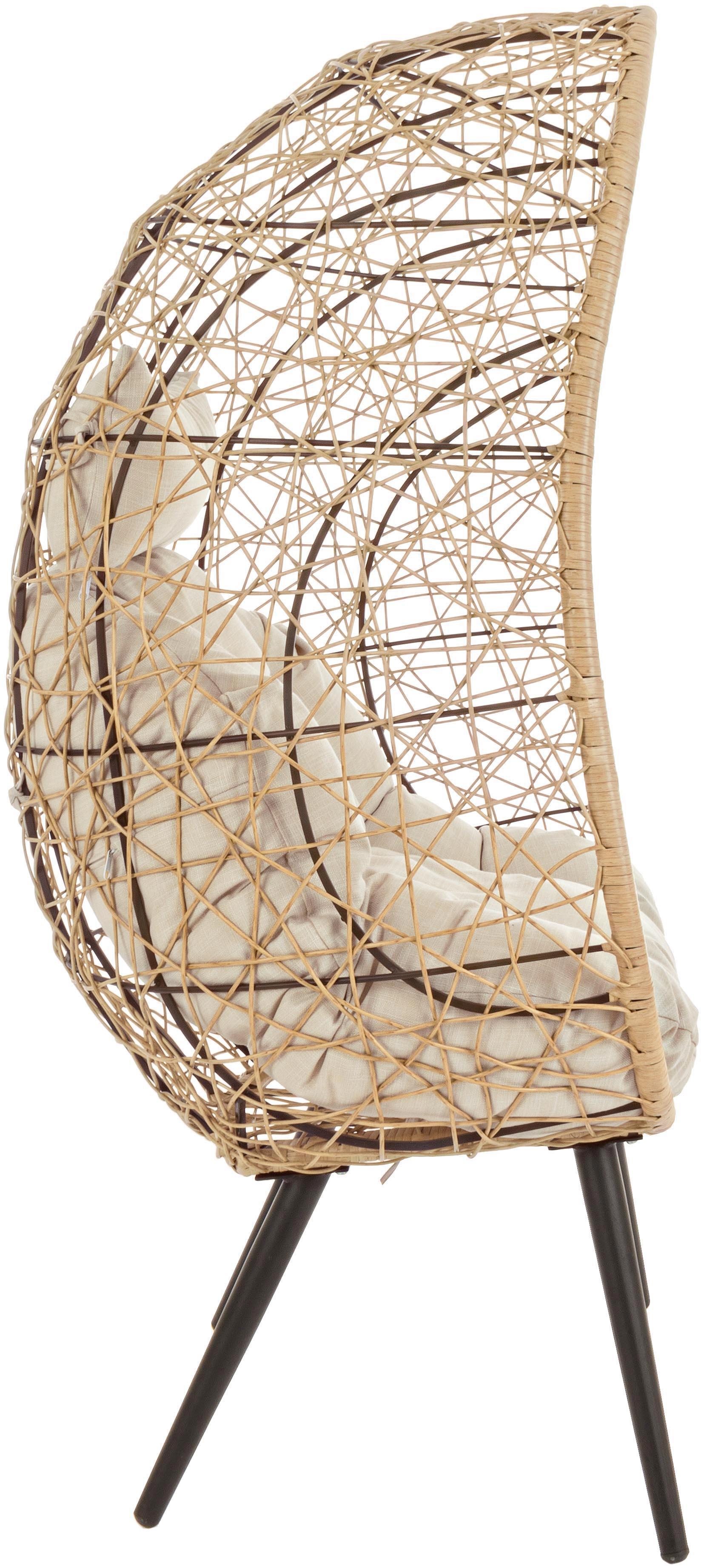 Garten-Loungesessel Marley aus Kunststoff-Geflecht, Gestell: Aluminium, pulverbeschich, Sitzfläche: Synthetikfasern, Bezug: Polyester, Beige, Creme, Schwarz, B 87 x T 70 cm