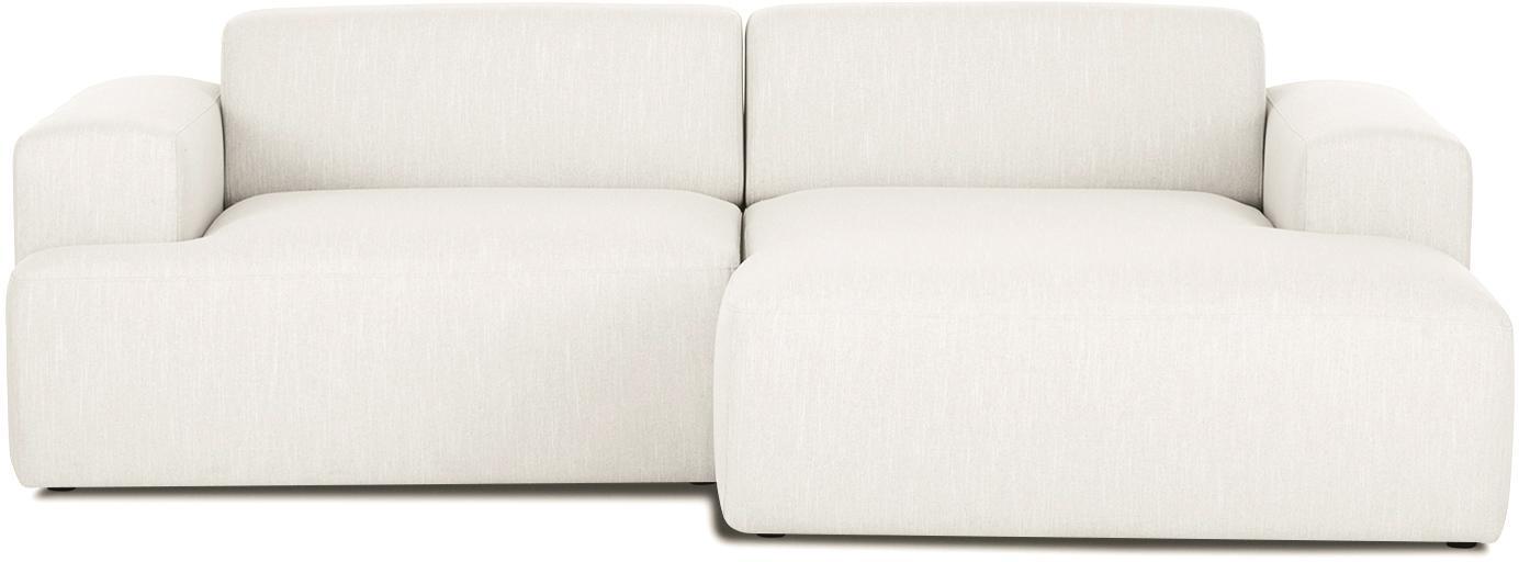Ecksofa Melva (3-Sitzer), Bezug: Polyester Der hochwertige, Gestell: Massives Kiefernholz, Spa, Webstoff Beige, B 240 x T 144 cm