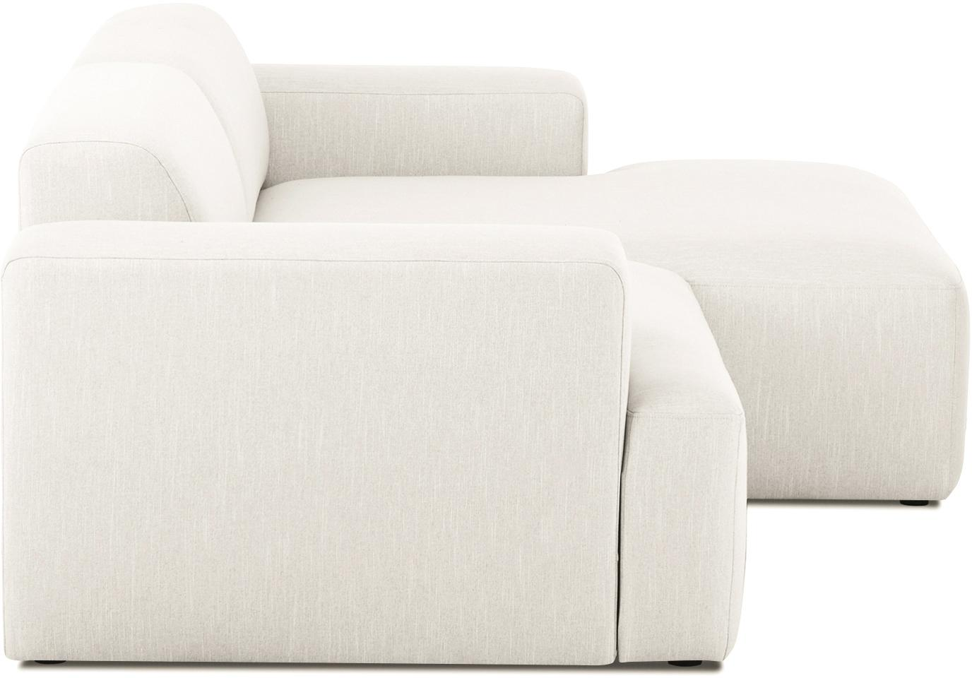 Hoekbank Melva (3-zits), Bekleding: polyester, Frame: massief grenenhout, spaan, Poten: grenenhout, Geweven stof beige, B 240 x D 144 cm