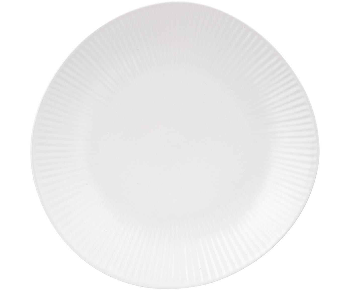 Handgefertigte Dessertteller Sandvig mit leichtem Rillenrelief, 4 Stück, Porzellan, durchgefärbt, Gebrochenes Weiß, Ø 22 cm