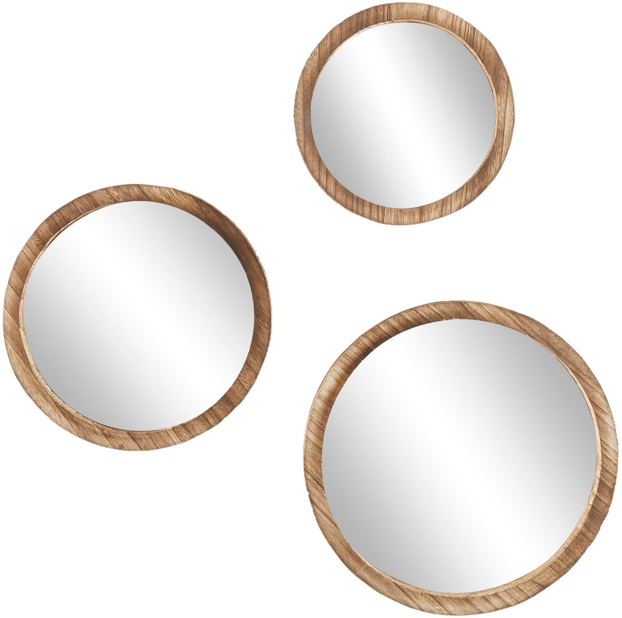 Set 3 specchi da parete con cornice in legno di paulownia Jones, Cornice: legno di Paulownia, Superficie dello specchio: lastra di vetro, Marrone, Set in varie misure