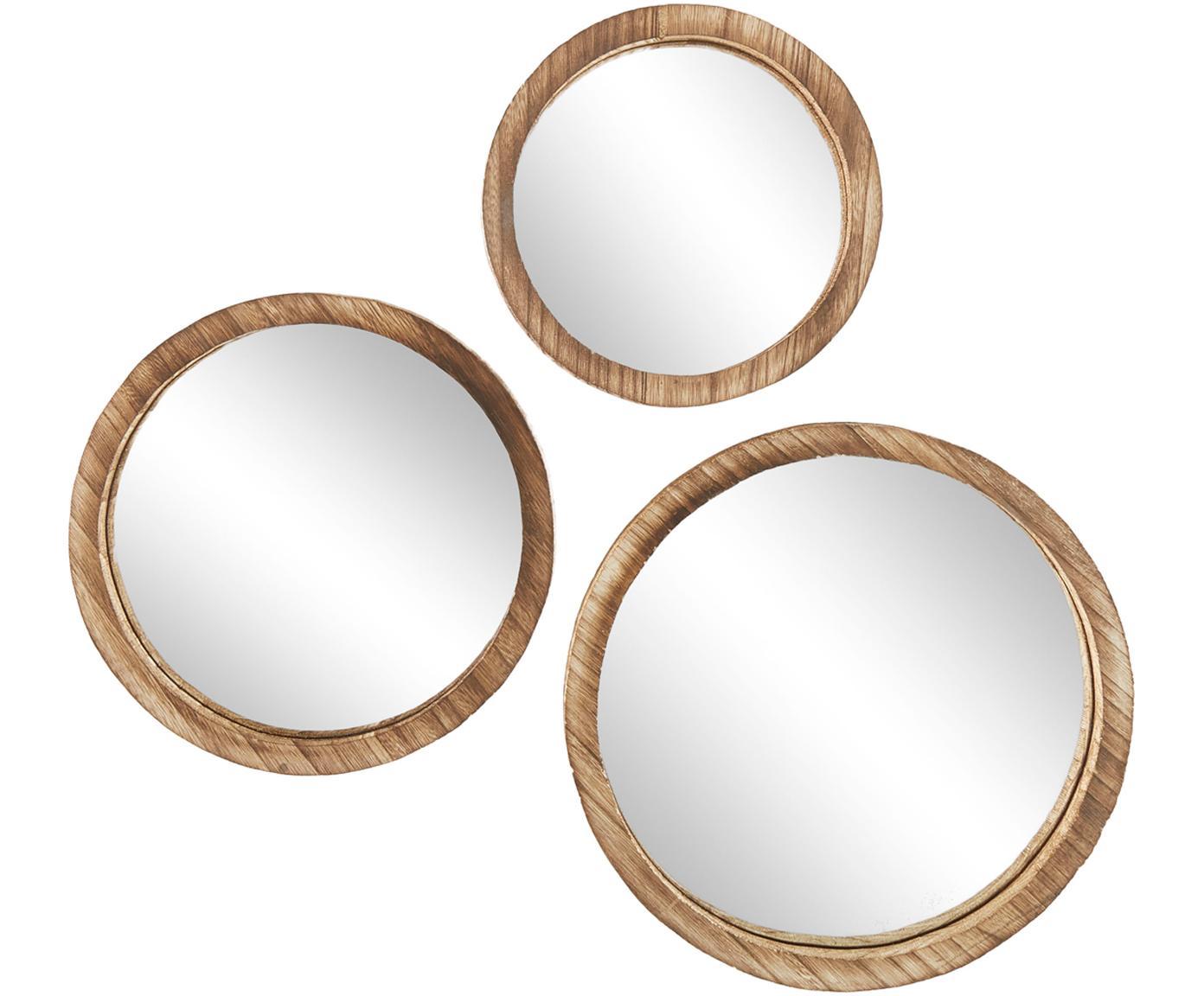 Set specchi da parete Jones, 3 pz., Cornice: legno di Paulownia, Superficie dello specchio: lastra di vetro, Marrone, Diverse dimensioni