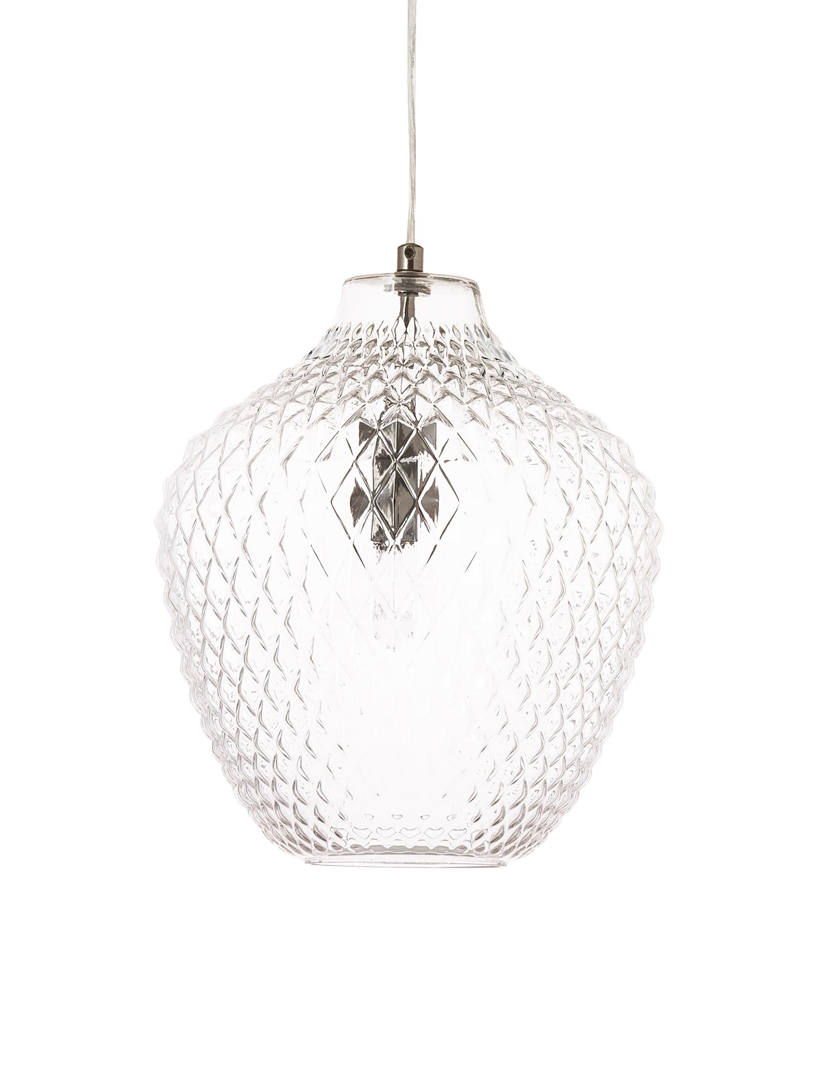 Hanglamp Lee van glas, Lampenkap: glas, Baldakijn en fitting: chroomkleurig. Lampenkap: transparant, Ø 27 x H 33 cm