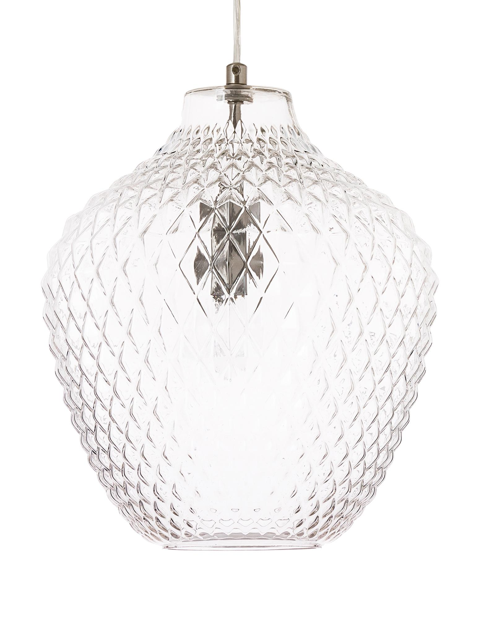 Lampada a sospensione in vetro Lee, Paralume: vetro, Trasparente, cromo, Ø 27 x Alt. 33 cm