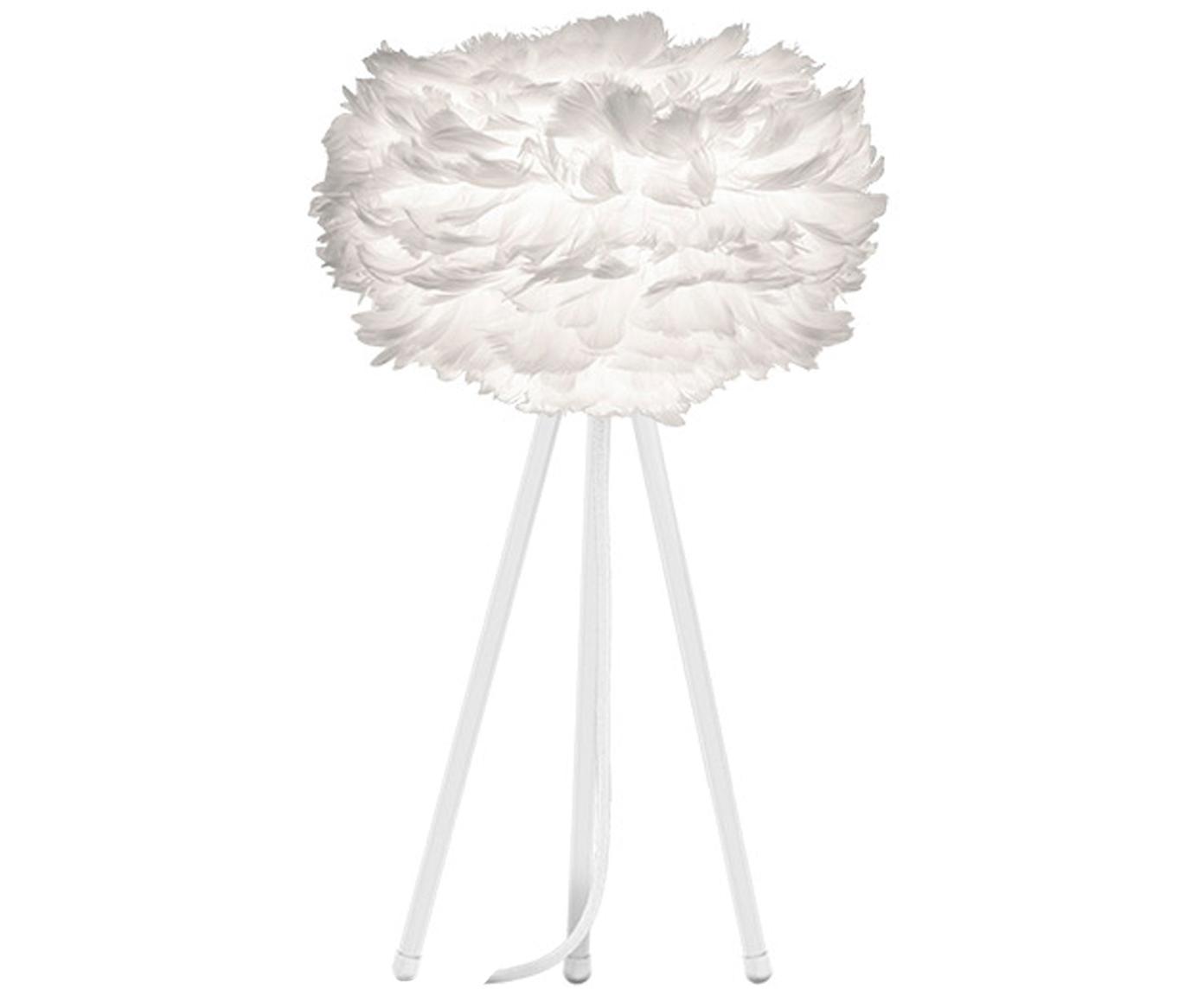 Tischleuchte Eos Mini aus Federn, Lampenschirm: Gänsefedern, Stahl, Lampenfuß: Aluminium, pulverbeschich, Weiß, Ø 35 x H 56 cm