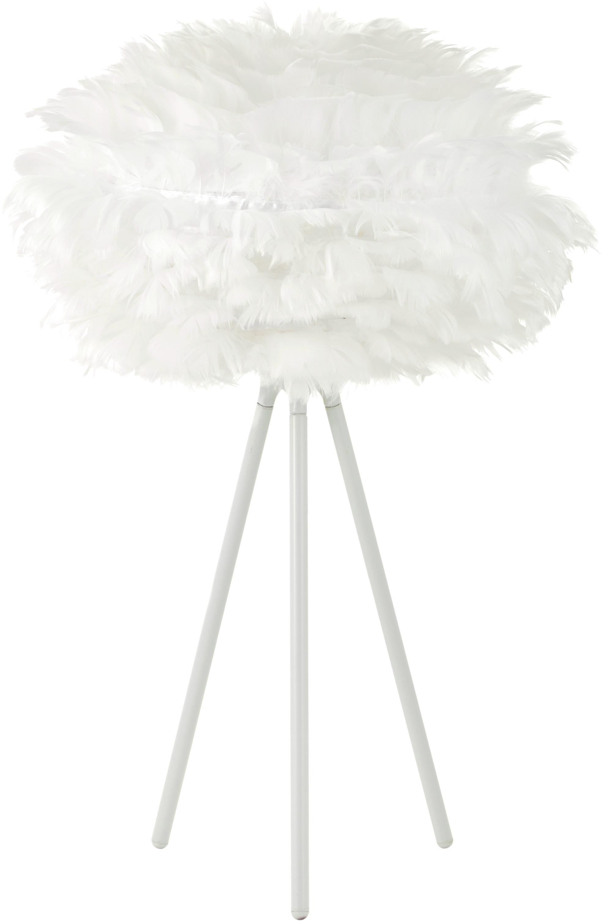 Tafellamp Eos Mini van veren, Lampenkap: ganzenveren, staal, Lampvoet: gepoedercoat aluminium, Wit, Ø 35 x H 56 cm
