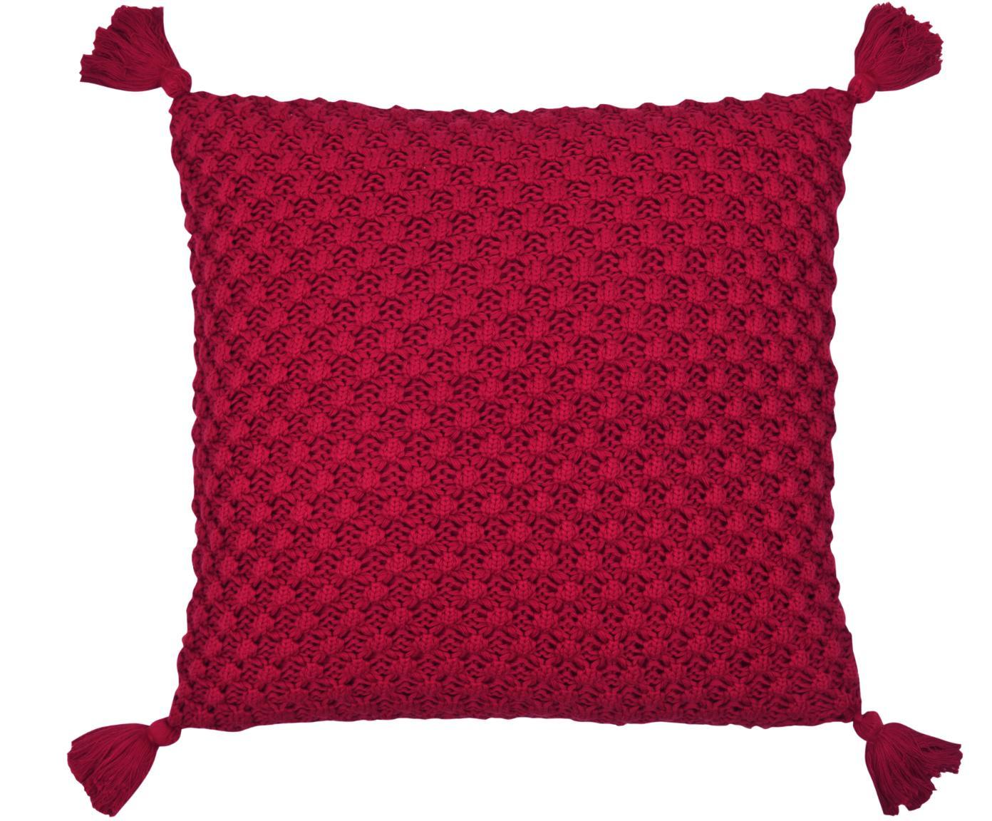 Strick-Kissenhülle Astrid mit Quasten in Rot, Baumwolle, Rot, 50 x 50 cm