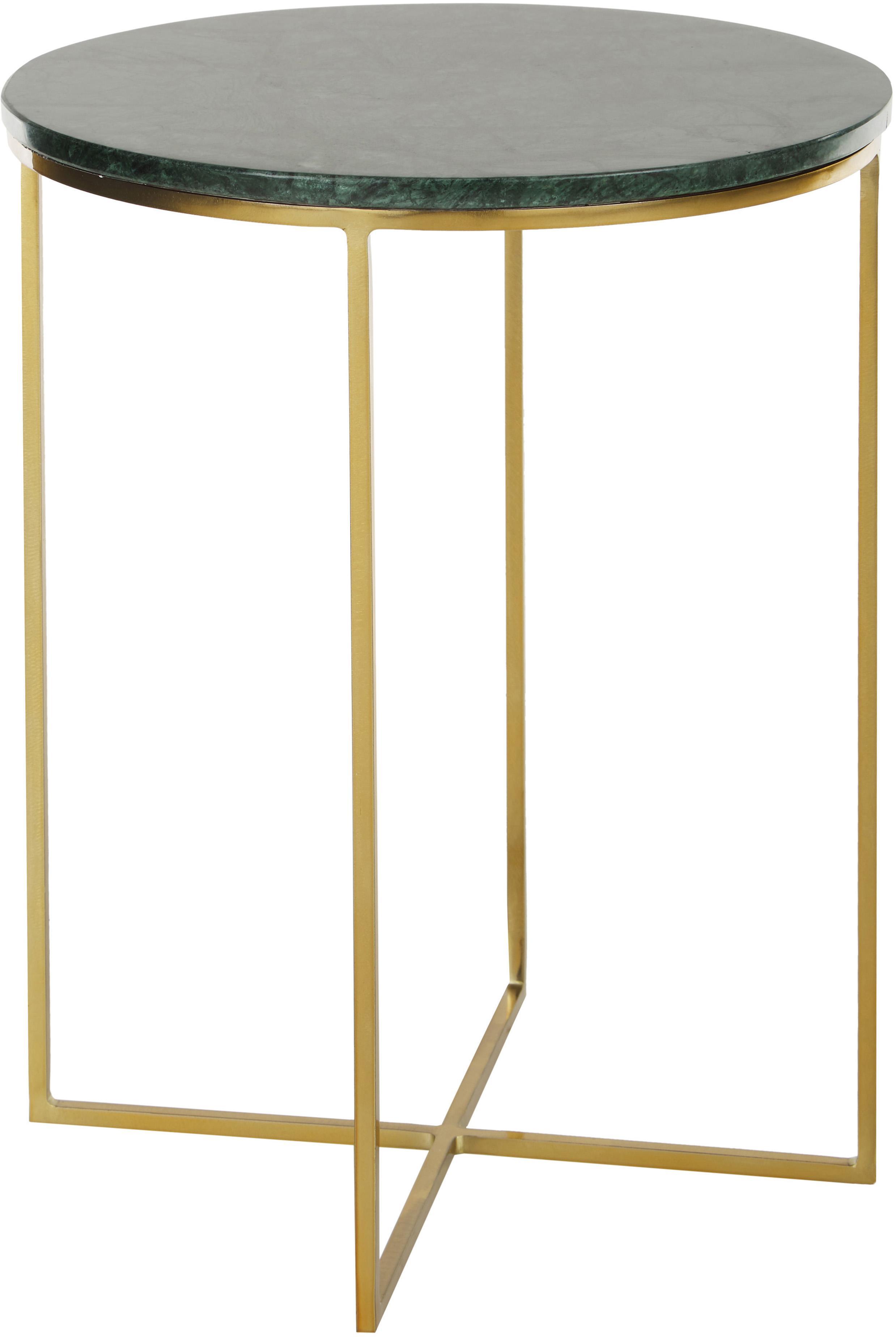Tavolino rotondo con piano in marmo Alys, Piano d'appoggio: pietra naturale di marmo, Struttura: metallo verniciato a polv, Piano d'appoggio: marmo verde Struttura: dorato lucido, Ø 40 x Alt. 50 cm