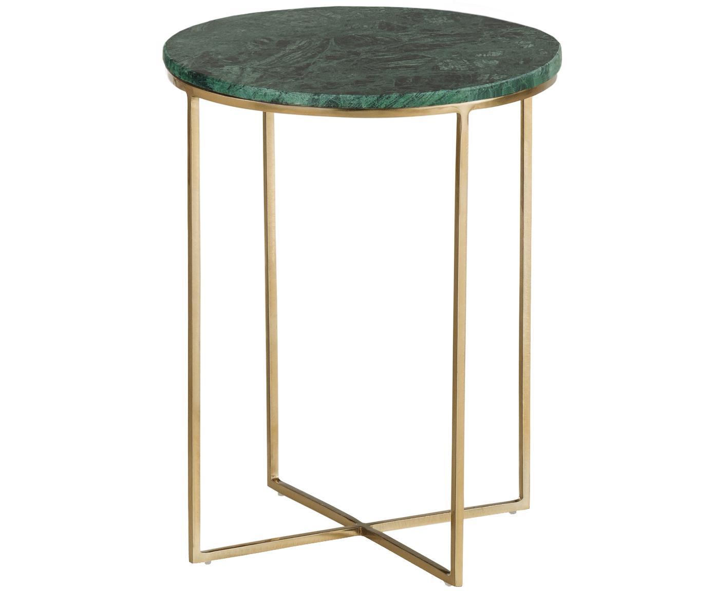 Mesa auxiliar de mármol redonda Alys, Tablero: mármol natural, Estructura: metal con pintura en polv, Mármol verde, dorado, Ø 40 x Al 50 cm