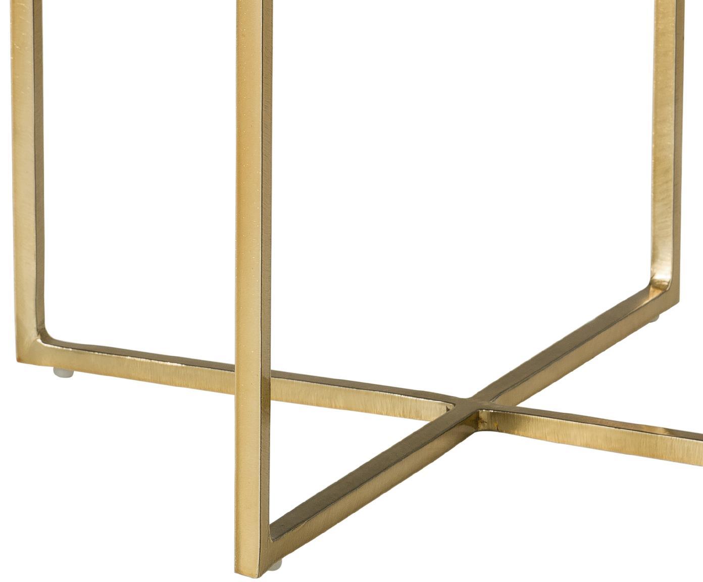 Okrągły stolik pomocniczy z marmuru Nova, Blat: marmur, Stelaż: metal malowany proszkowo, Blat: zielony marmur Stelaż: odcienie złotego, błyszczący, Ø 40 x W 50 cm
