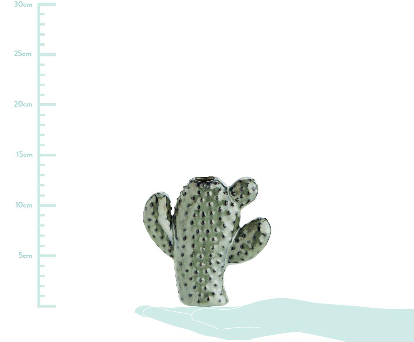 Kleine Vase Caty aus Steingut, Steingut, Grün, Braun, 12 x 13 cm