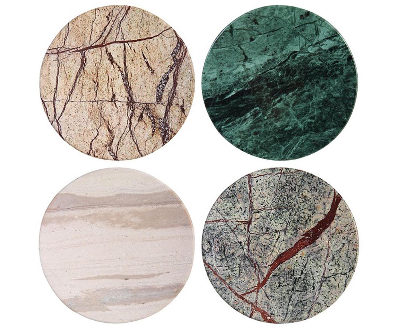 Set de posavasos de mármol Lidia, 4pzas., Mármol, Multicolor, Ø 10 cm
