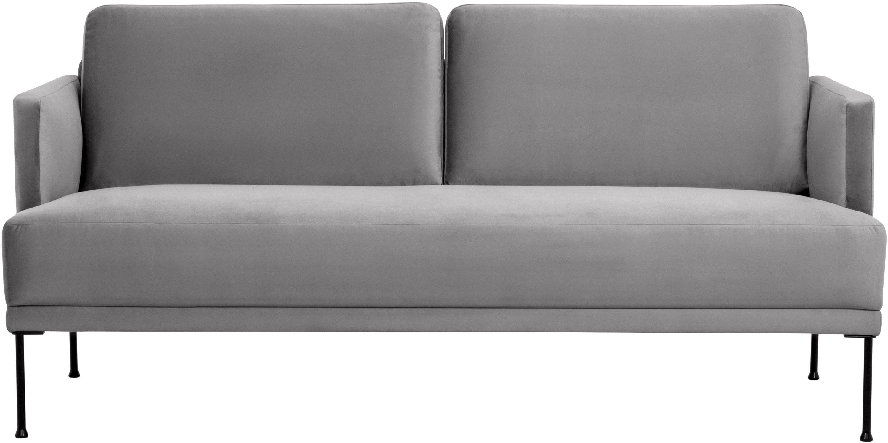 Fluwelen bank Fluente (2-zits), Bekleding: fluweel (hoogwaardig poly, Frame: massief grenenhout, Poten: gepoedercoat metaal, Lichtgrijs, B 166 x D 85 cm