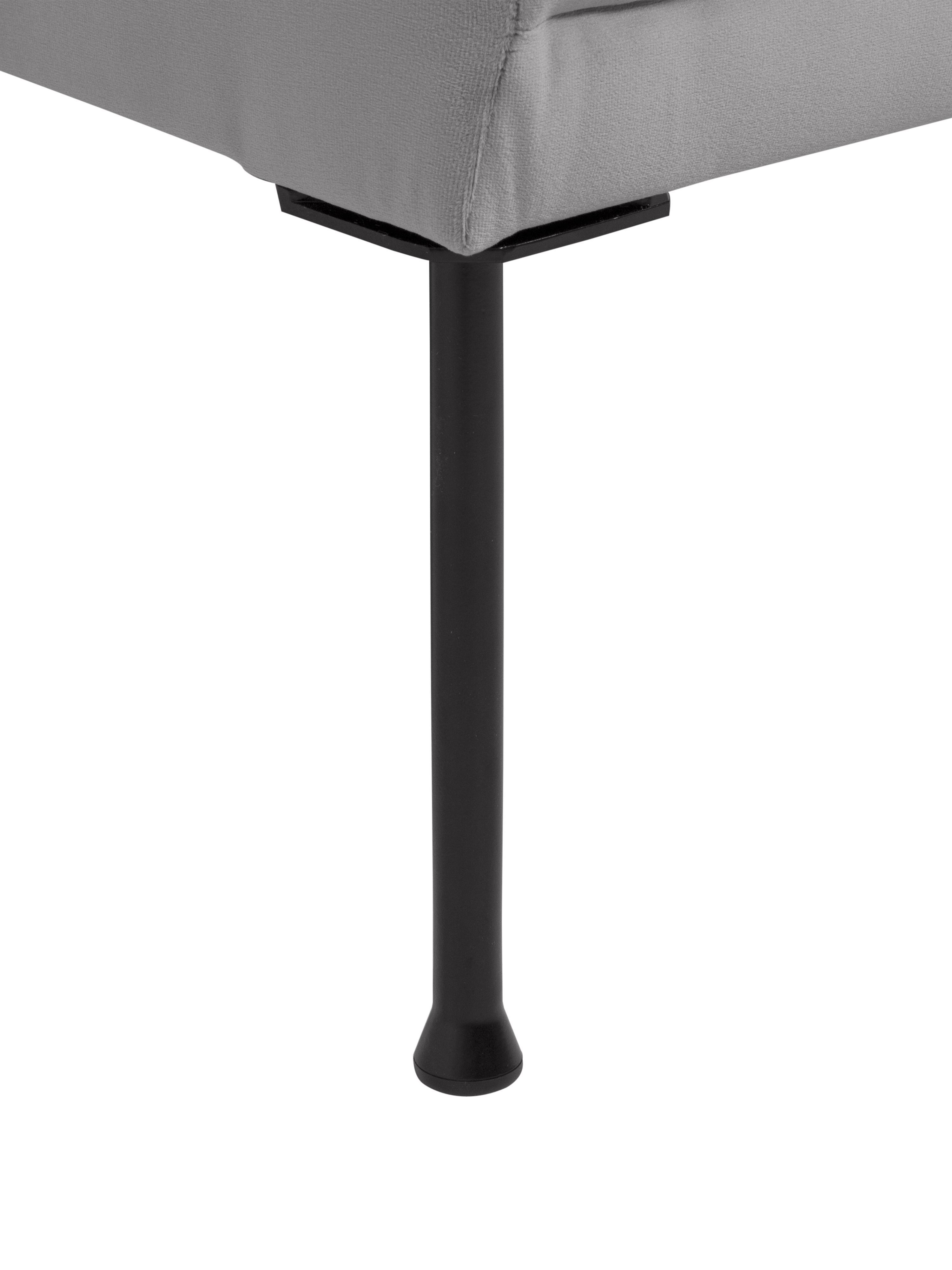 Samt-Sofa Fluente (2-Sitzer), Bezug: Samt (Hochwertiger Polyes, Gestell: Massives Kiefernholz, Füße: Metall, pulverbeschichtet, Samt Hellgrau, B 166 x T 85 cm