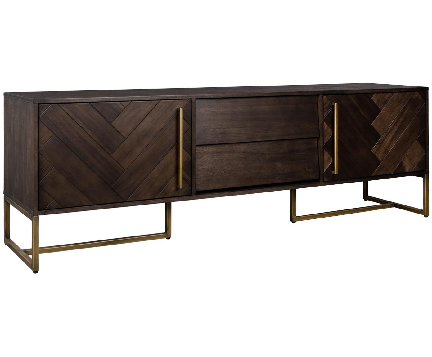 Visgraat dressoir Class met acaciahoutfineer, Frame: MDF met acaciahoutfineer, Frame: bruin. Poten en handgrepen: messingkleurig, 180 x 60 cm