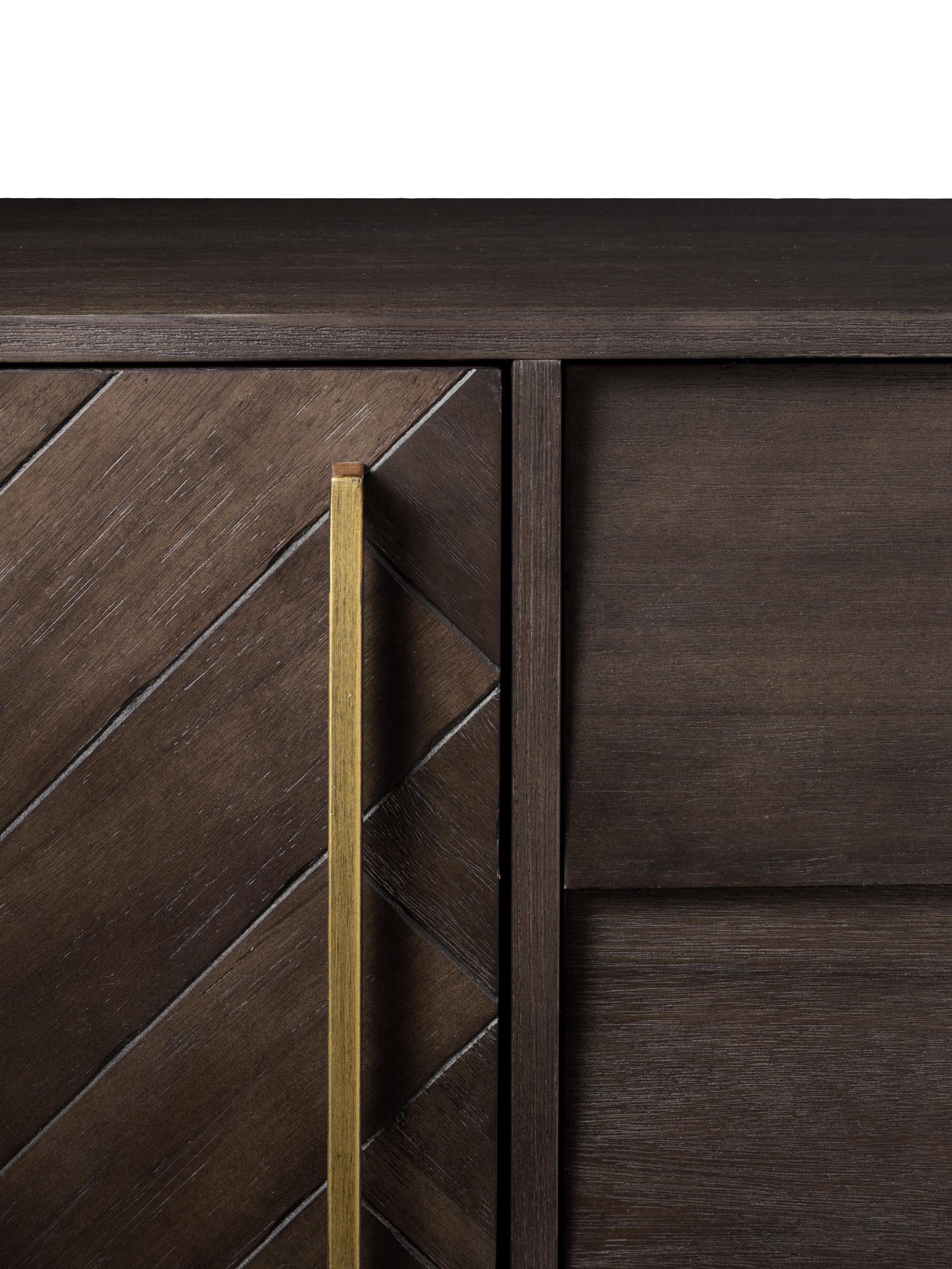 Meuble bas à motif chevrons plaqué acacia Class, Structure: brun Pieds et poignées: laiton