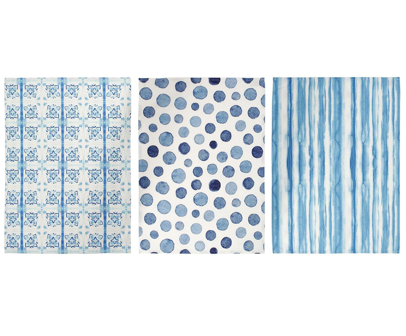 Geschirrtücher-Set Cloam, 3-tlg., Baumwolle, Blautöne, Weiss, 50 x 70 cm