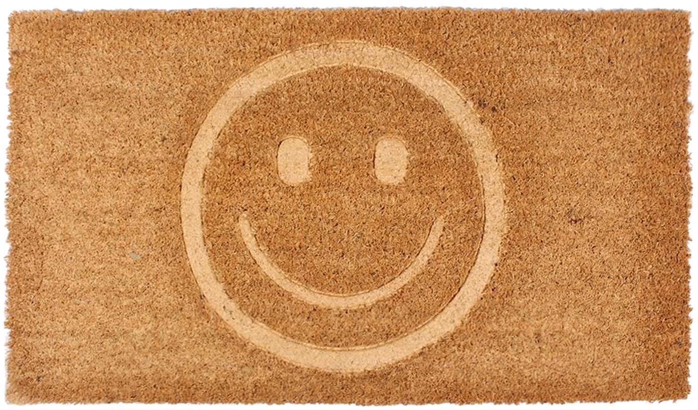 Fussmatte Smile, Oberseite: Kokosfaser, Unterseite: PVC, Braun, 40 x 70 cm
