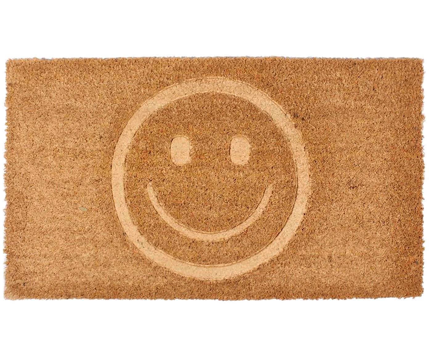 Felpudo Smile, Parte superior: fibras de coco, Reverso: PVC, Marrón, An 40 x L 70 cm
