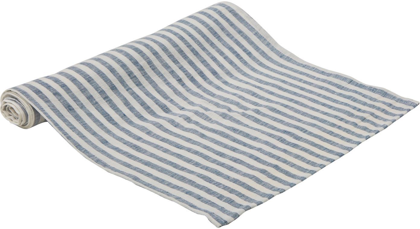 Runner da tavolo in lino Solami, Lino, Azzurro, bianco, Larg. 40 x Lung. 150 cm