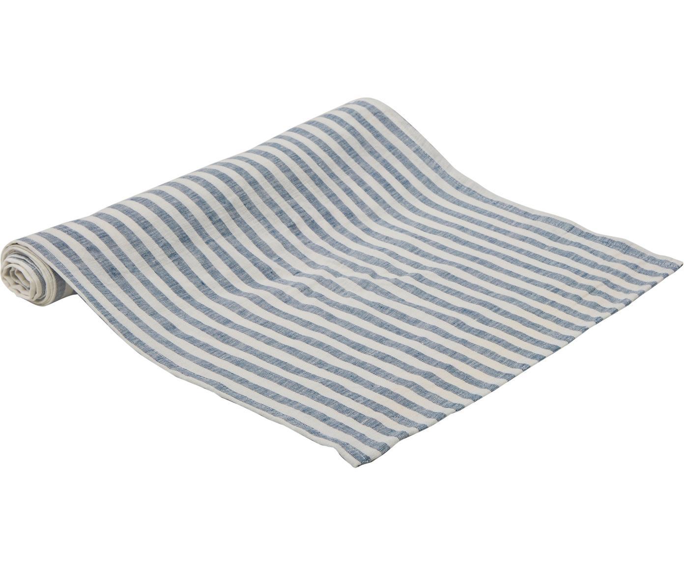 Camino de mesa de lino Solami, Lino, Azul claro, blanco, An 40 x L 150 cm