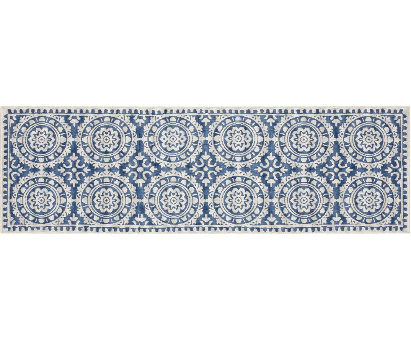 Dubbelzijdige in- en outdoor loper Jardin, Polypropyleen, Blauw, crèmekleurig, 80 x 250 cm