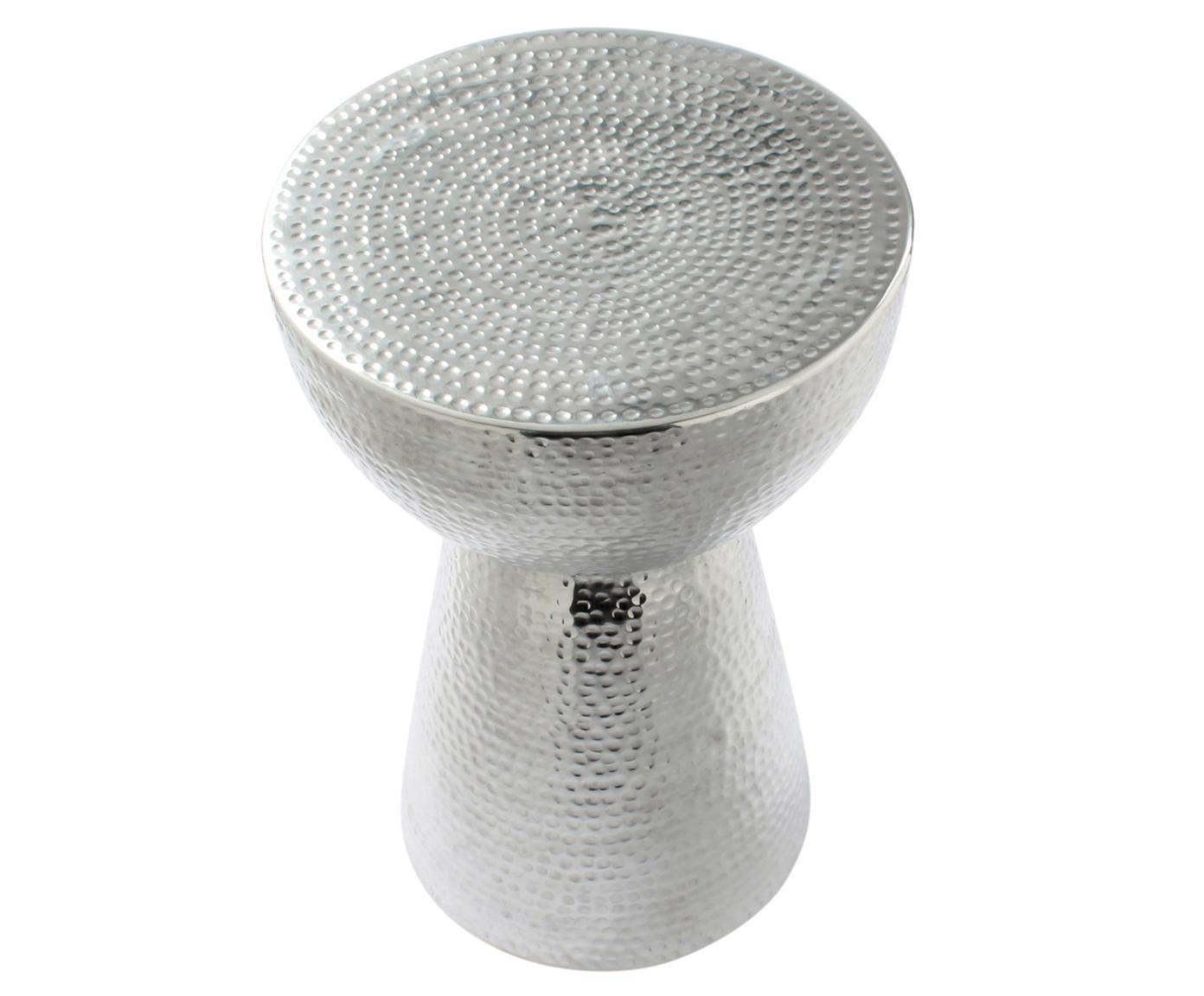 Stołek Louis, Aluminium, młotkowane, Aluminiowy, Ø 32 x W 47 cm