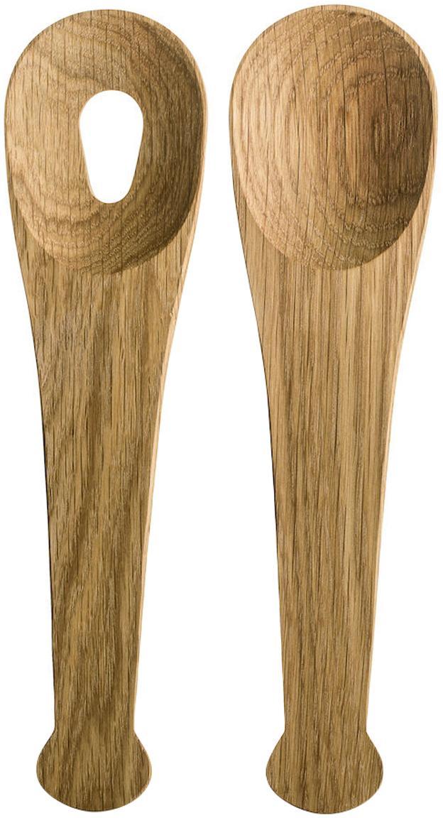 Cubiertos para ensalada de madera de roble Henny, 2pzas., Madera de roble, Roble, L 24 cm