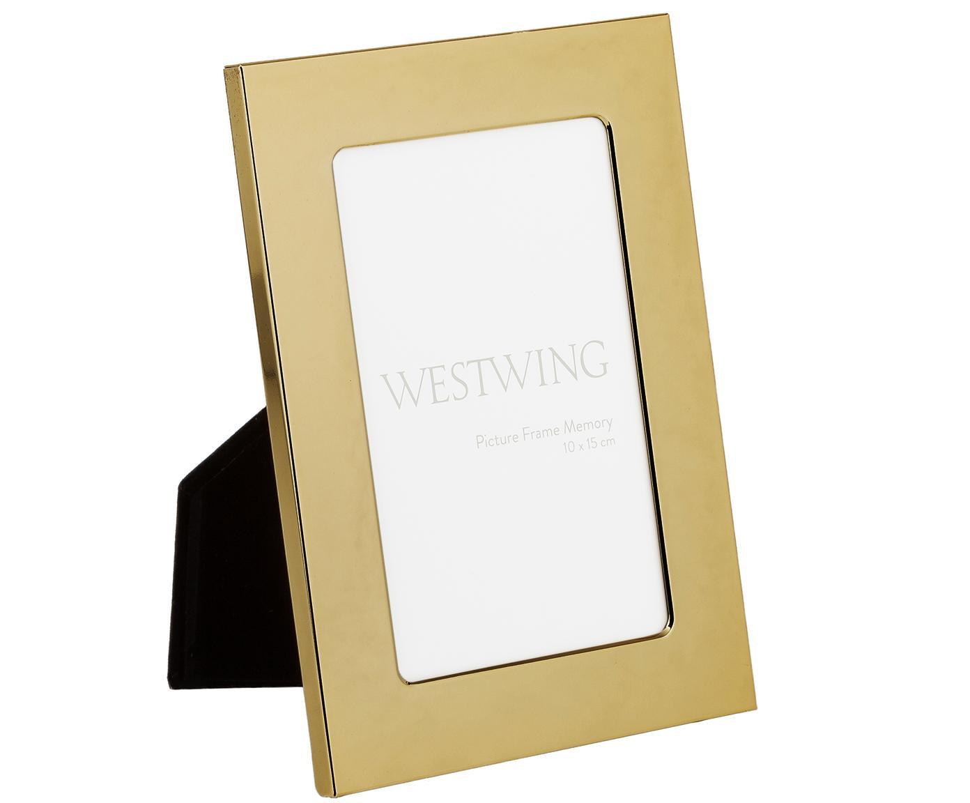Bilderrahmen Memory, Rahmen: Eisen, hochglanz lackiert, Front: Glas, spiegelnd, Goldfarben, 10 x 15 cm