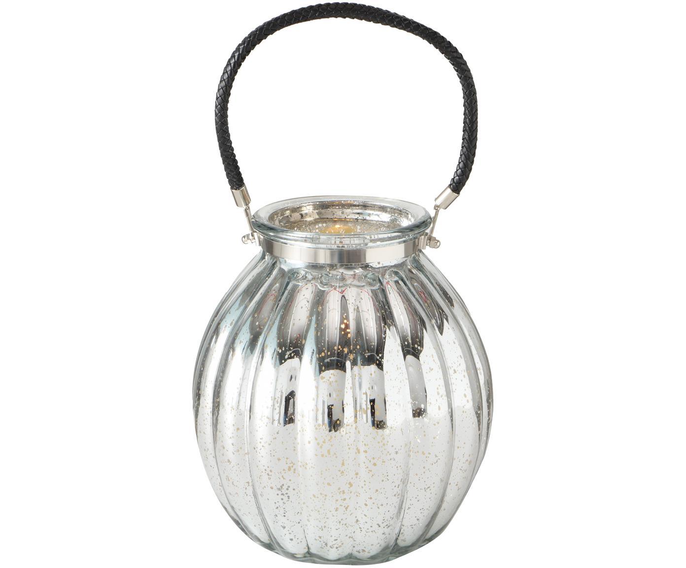 Portavelas Tubby, Portavelas: vidrio, pintado, Asa: cuero sintético, Plateado, negro, Ø 22 x Al 25 cm