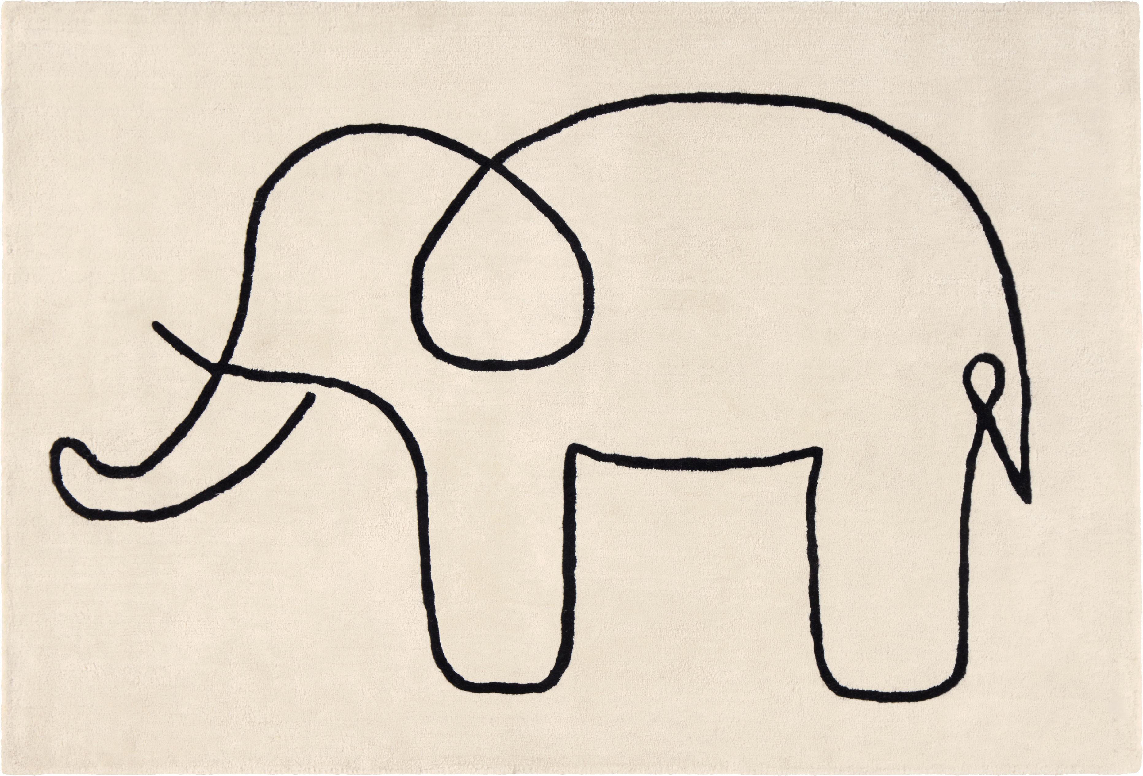 Alfombra Sketchy Elephant, Viscosa, Blanco crudo, negro, An 130 x L 190 cm
