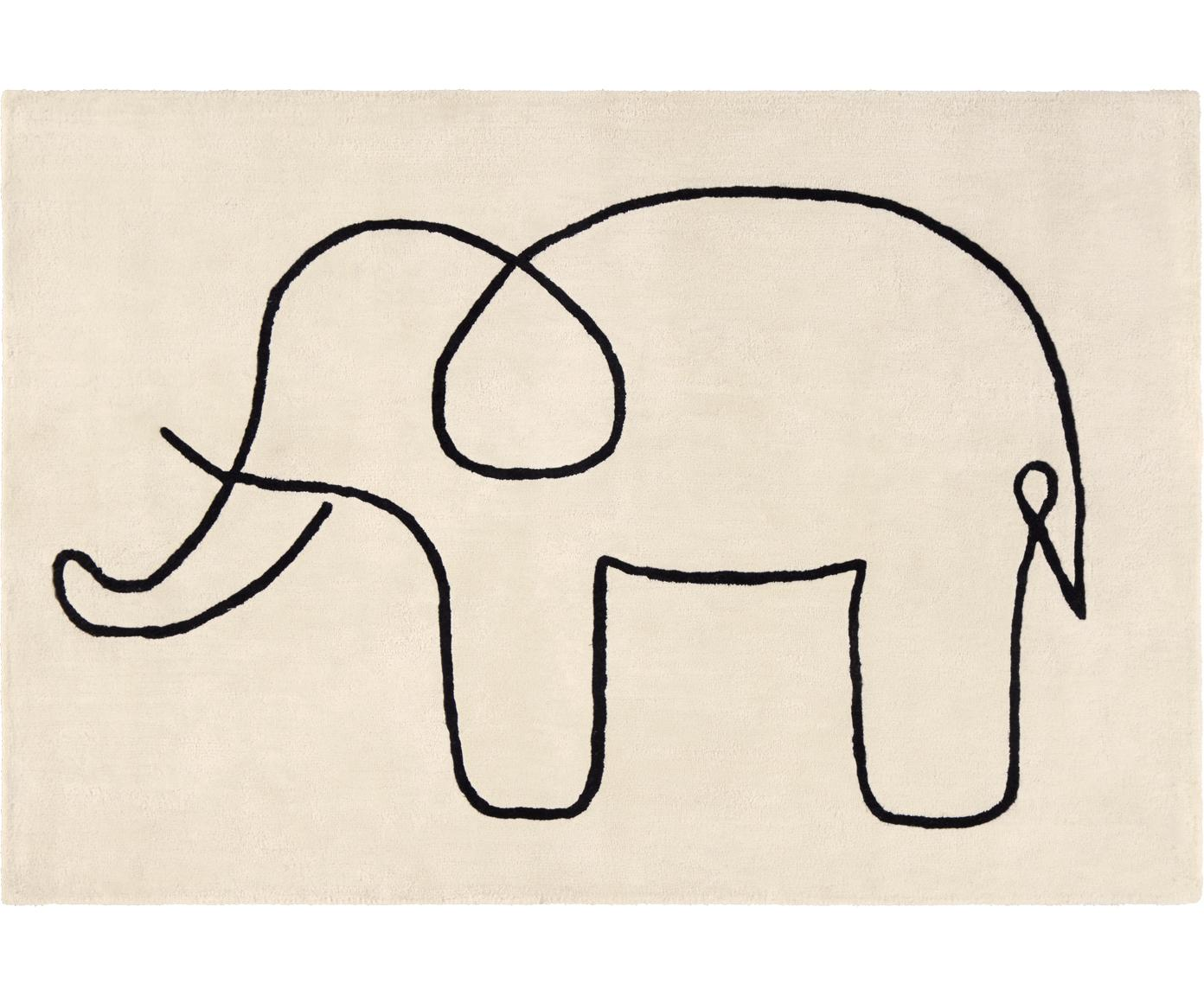 Teppich Sketchy Elephant, Viskose, Cremeweiß, Schwarz, 130 x 190 cm