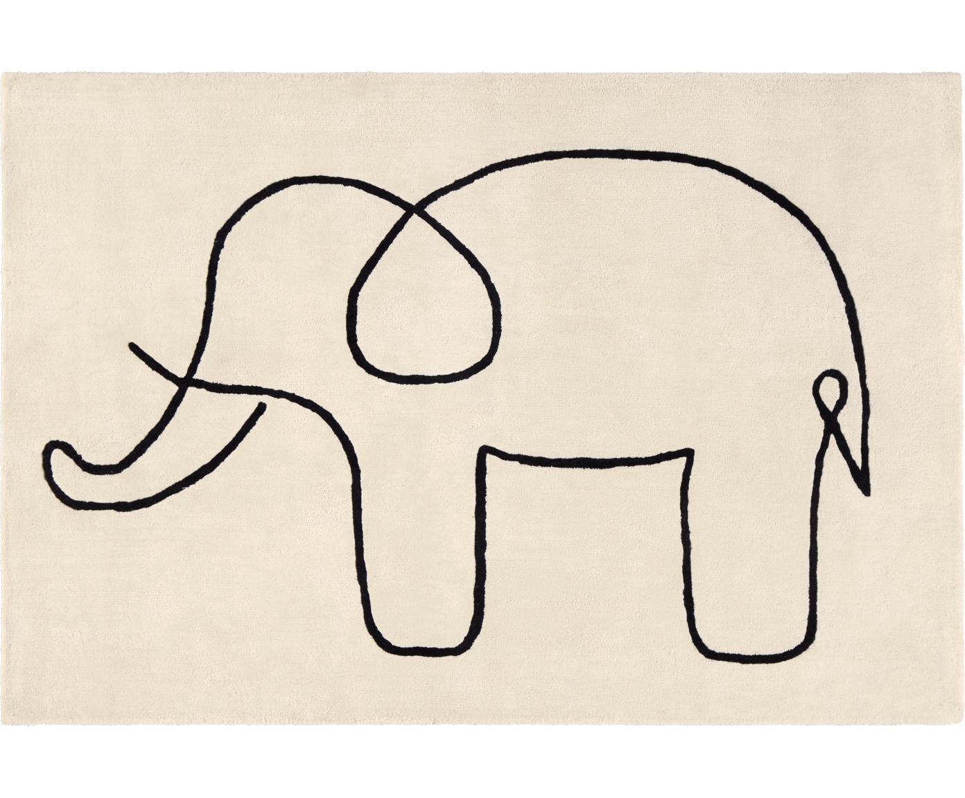 Vloerkleed Sketchy Elephant, Viscose, Gebroken wit, zwart, 130 x 190 cm